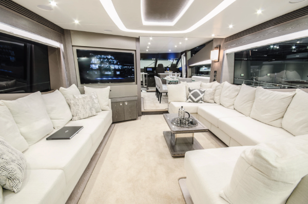 The stunning Sunseeker 75 Yacht with unique grey interior, pictured, was the largest yacht on display at the Sunseeker Pre-Season Boat Show