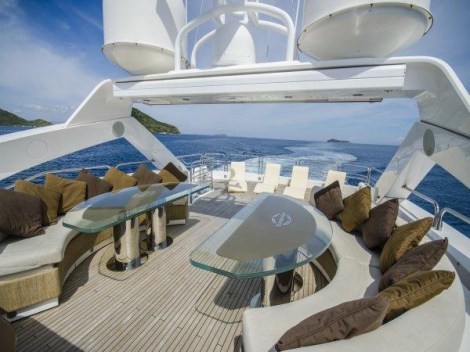 """""""BULLION"""" offers a large flybridge for entertaining guests, sunbathing and dining"""