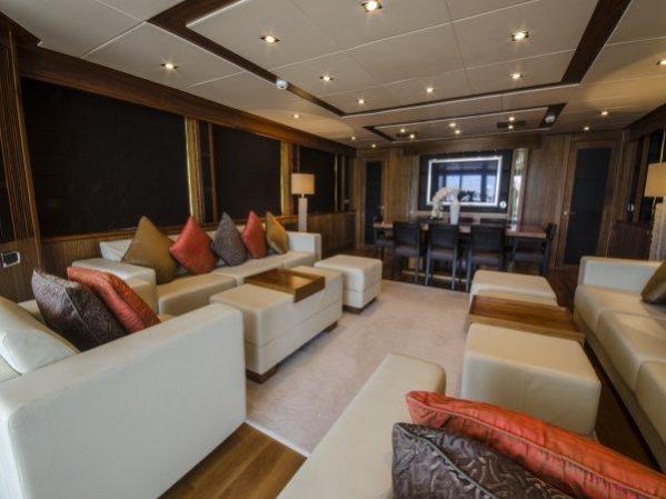 "The Sunseeker 30 Metre Yacht ""BULLION"" features a Black American Walnut interior finish"