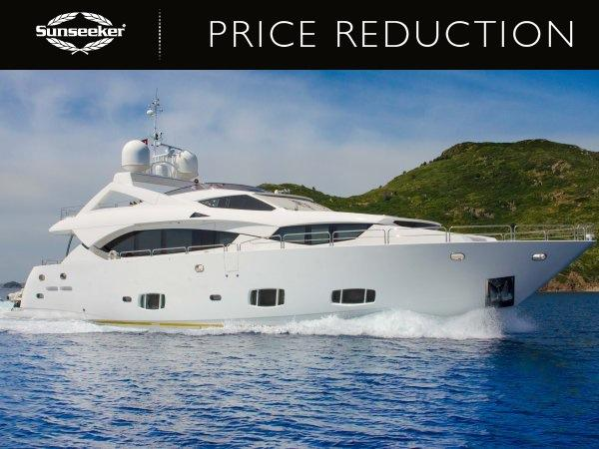 "Sunseeker London has announced a currency change and subsequent reduction for the Sunseeker 30 Metre Yacht ""BULLION"", now asking €4,250,000"