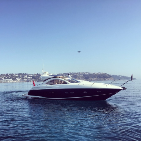 Sunseeker Torquay head around Torbay to film 3 Sunseeker yachts with drones