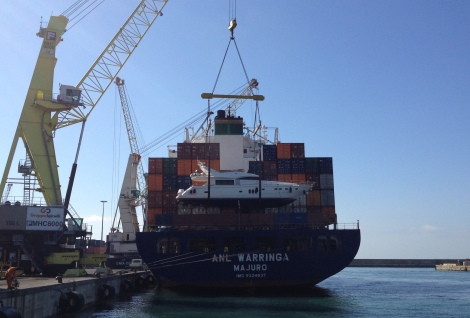 "The Princess 23M ""ISABEL"" is loaded in Genoa, bound for Australia"