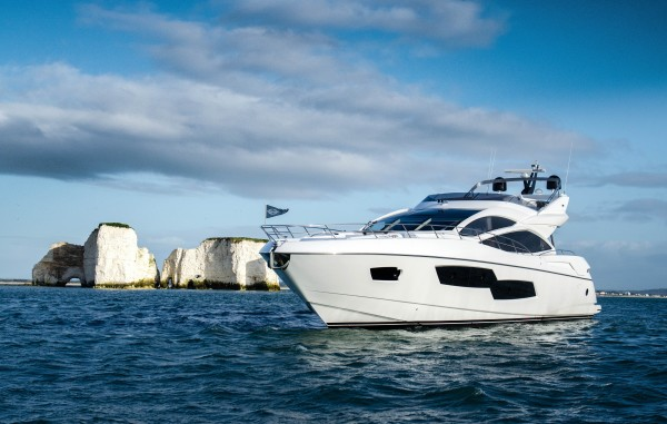 The Sunseeker 80 Sport Yacht will be on display at the Sunseeker Yacht Show, available for immediate delivery