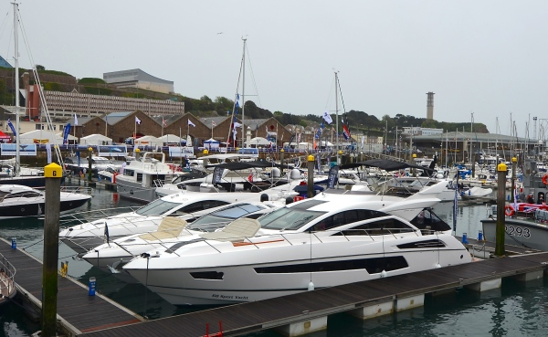 The Jersey Boat Show display featured the Sunseeker 68 Sport Yacht, Manhattan 65, Manhattan 55 and San Remo 485