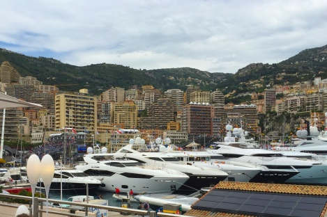 Spot the Sunseeker: A Manhattan 63, 115 Sport Yacht, 37 Metre Yacht and 155 Yacht were moored closely together in Port Hercules during the Monaco GP