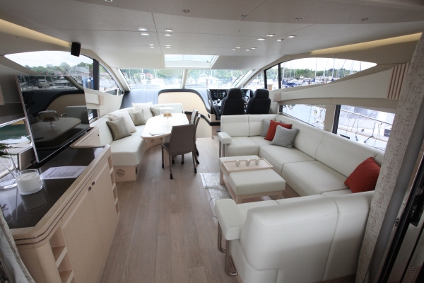 The interior of the stunning Sunseeker 68 Sport Yacht pictured at the British Motor Yacht Show 2015