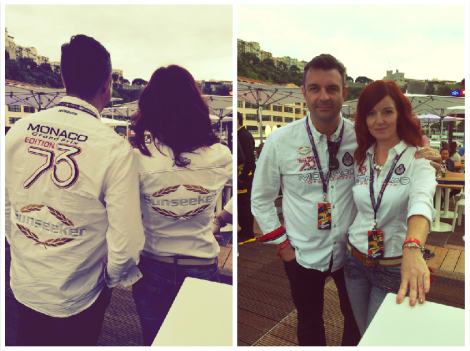Sunseeker Monaco's Matt Stanton and Lois Ryan were guests of the Infiniti Red Bull Racing Team