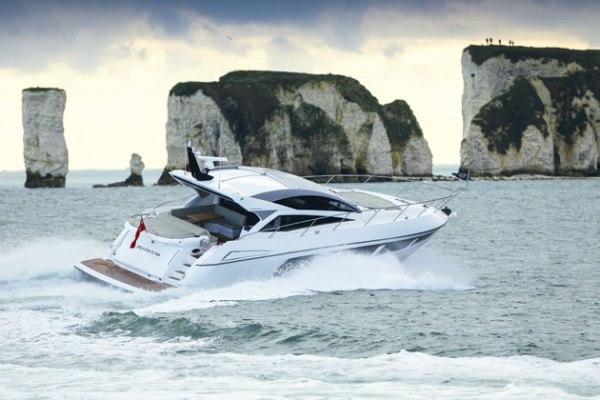 A brand new Sunseeker Predator 57, pictured here in Poole, has been handed over to her new owner in Mallorca Photo: MBY
