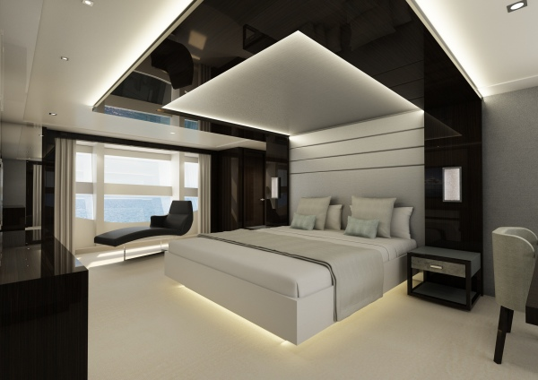 Light will fill the Master Stateroom of the 131 Yacht, which will feature stunning panoramic views from the Main Deck