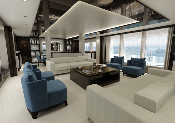 A standout feature of the 131 Yacht is the extensive use of glazing throughout, which has a dramatic impact on both her profile and interior spaces