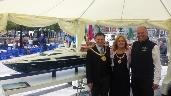Sunseeker Cheshire's Jonathan Kingsley with the Lord Mayor and Lady Mayoress, Tony and Ann Concepcion