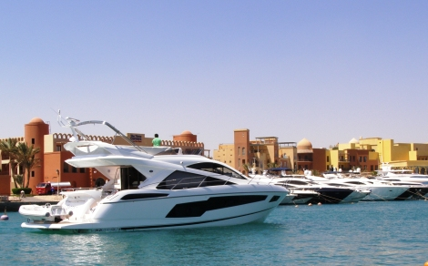 "The Sunseeker Manhattan 55 ""CHERRY"" enters her new home port of El Gouna"