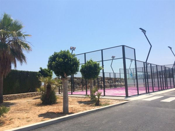 The newly constructed Padel courts (similar to Tennis) at Marina Santa Eulalia