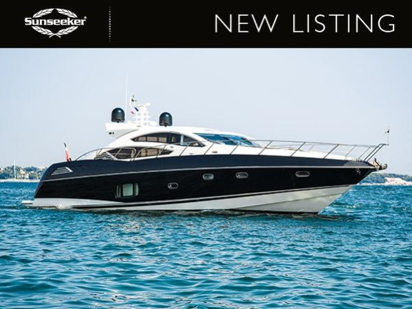 "The Sunseeker Predator 74 ""RIOJA"" has been listed by Sunseeker Poole, asking £795,000 inc VAT"