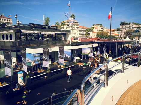 The Sunseeker stand at the Cannes Boat Show takes centre stage, this year showcasing 8 Sunseeker motor yachts