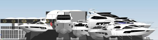 The Sunseeker stand at Southampton Boat Show CGI imagery for 2015