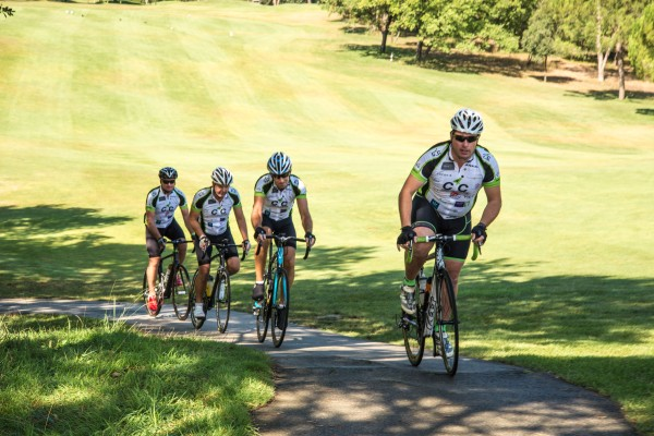 The 'COGS' cycling team rode around the 6km golf course encouraging guests at the event to raise funds for cancer and local charities in France