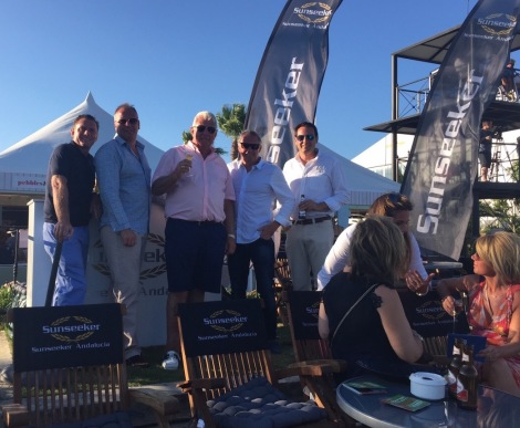 Christopher Head and Martyn Skelton host clients during the first match of the tournament in the VIP Sunseeker Lounge