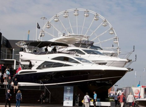The glamorous Sunseeker stand at this years Southampton Boat Show displays 11 new Sunseeker yachts