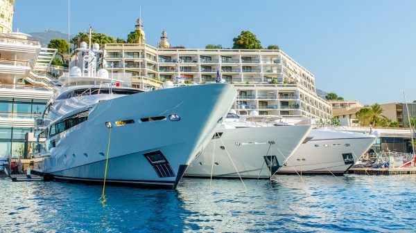 The Sunseeker stand is located in prime position adjacent to the Monaco Yacht Club