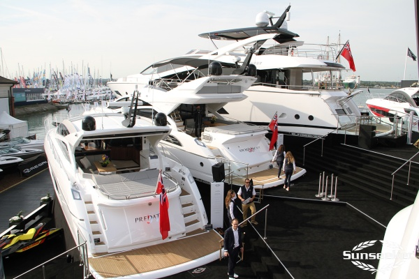 A busy and sunny Sunseeker stand welcomes guests to the show