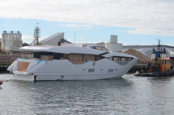 The NEW Sunseeker 116 Yacht arrives at the Sunseeker International shipyards for first fit out, ready for launch Spring 2016