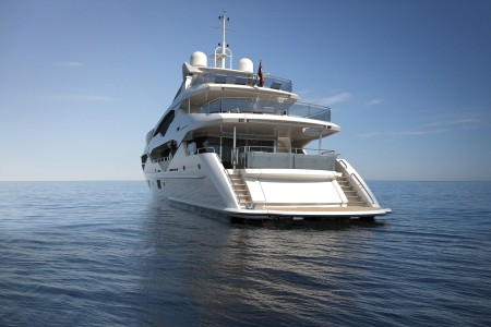 To create additional deck space, the 131 Yacht's external Skydeck and Upper Deck Aft Cockpit have been lengthened by approximately two meters