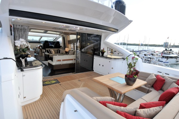 Large social cockpit suitable for family and friends to relax whilst on board