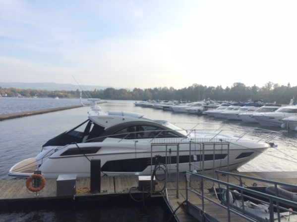 Sunseeker San Remo now lying on her home berth in Loch Lomond, Scotland