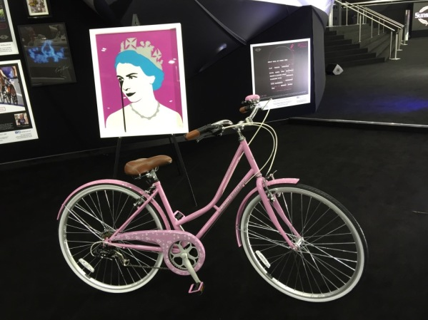 The pink ladies bike and HRH Prince Phillips Nightmare by famous artists Pure Evil