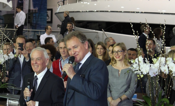 Hugh Bonneville with Robert Braithwaite CBE DL launched the Sunseeker stand at the London International Boat Show 2016