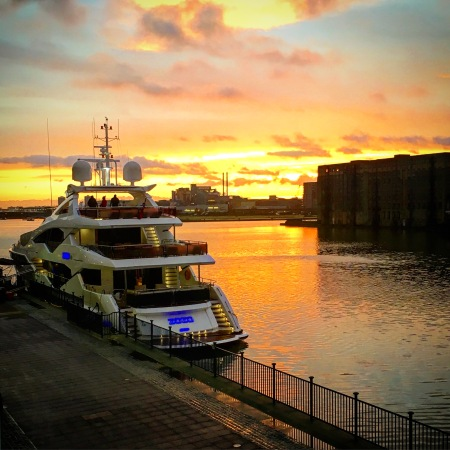 The Sunseeker 131 Yacht on the morning of her launch berthed outside the London ExCeL Centre. Photo by Lizzie Trott