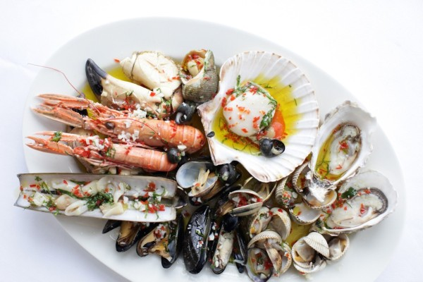 Rick Stein's Hot Shellfish with olive oil, garlic and chilli at his new Sandbanks Restaurant