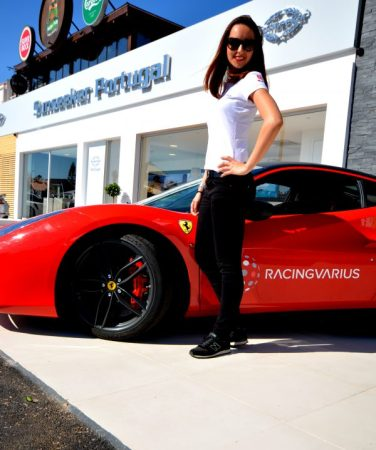 Racingvarius Ferrari outside the newly opened Sunseeker Portugal office