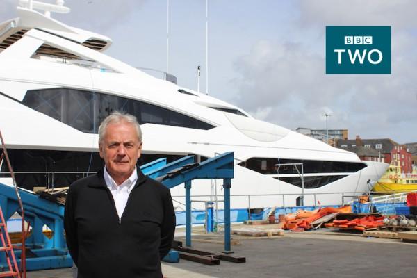 Sunseeker founder Robert Braithwaite, founder and CBE DL in front of the Sunseeker 131 Yacht