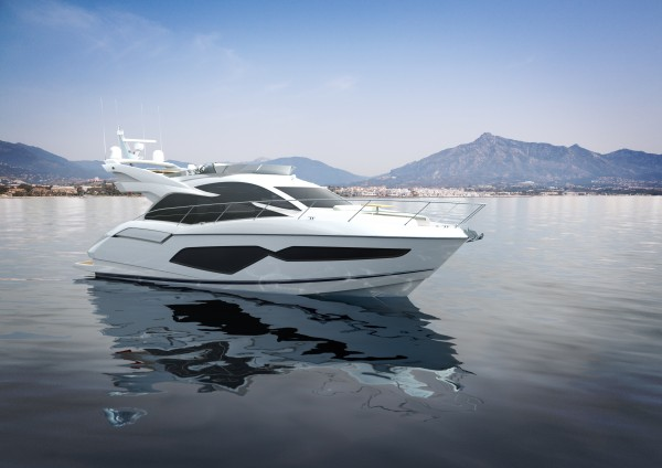 The hull of the Sunseeker Manhattan 52 incorporates unparalleled amounts of curved glass to emphasise its sleek lines as well as bringing the outside in.