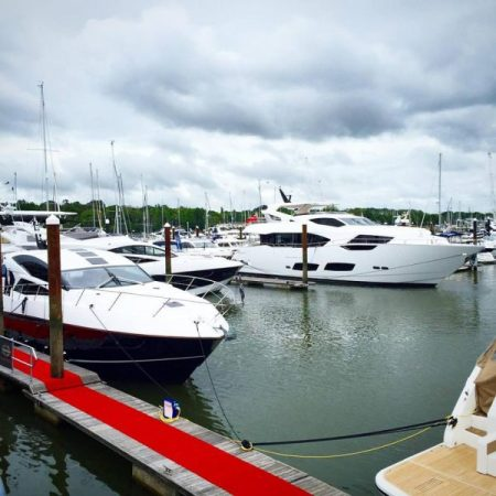 The Sunseeker 95 Yacht during the British Motor Yacht Show 2016