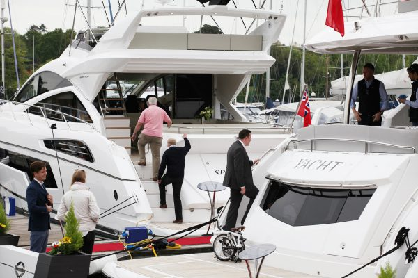 The British Motor Yacht Show offers a great selection of yachts and a hive of activity
