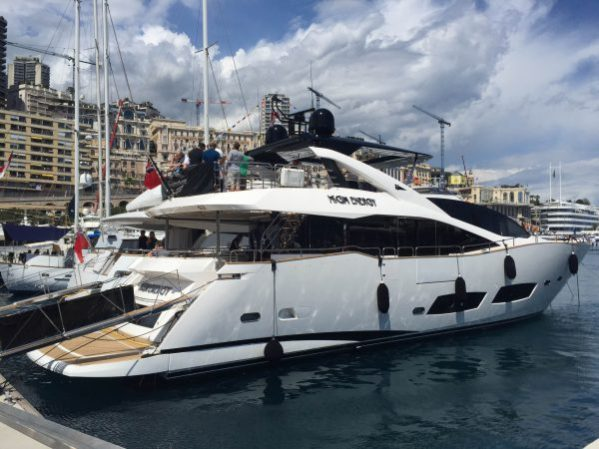 The Sunseeker 28 Metre Yacht High Energy' at the T-Quai in Monaco