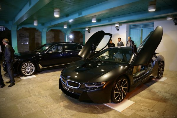 A BMW 7 Series and a BMW i8, from Char. Pilakoutas Ltd were displayed in front of the entrance to the event