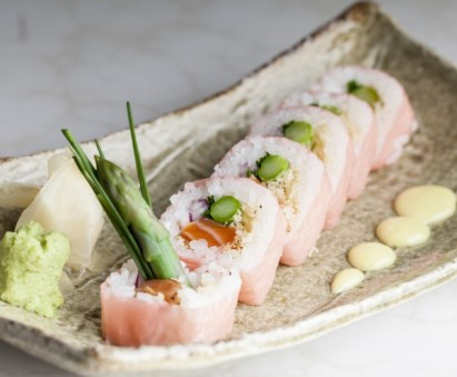 The Ezo Samba Roll: soy-marinated salmon, asparagus, onion, chives, sesame, tempura crunch, soy paper and wasabi mayo
