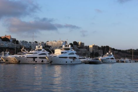 Two Sunseeker 40M Yachts alongside a Sunseeker 115 Yacht in Puerto Portals, Mallorca