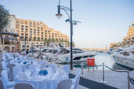 Later on in the evening, guests were pampered with a five-course dinner which took place alongside the Portomaso Marina with views of the Predator 57