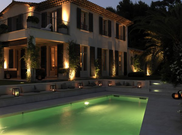 Villa Armani Casa pool view at twilight