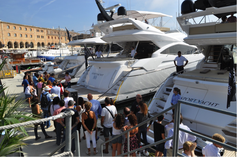 A busy day at the Sunseeker stand in Barcelona