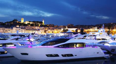 The Sunseeker 28 Metre Yacht on display at the Cannes Yachting Festival
