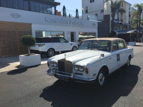 A beautiful Classic Jaguar parked outside Sunseeker Portugal