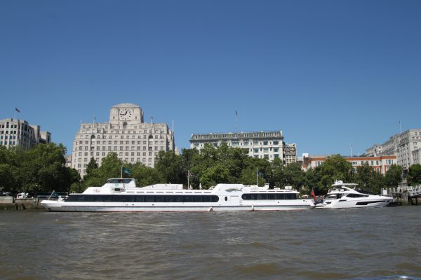 Woods Silver Fleet's 'SILVER STURGEON' and Sunseeker's 'HARD 8' both being showcased on the Savoy Pier