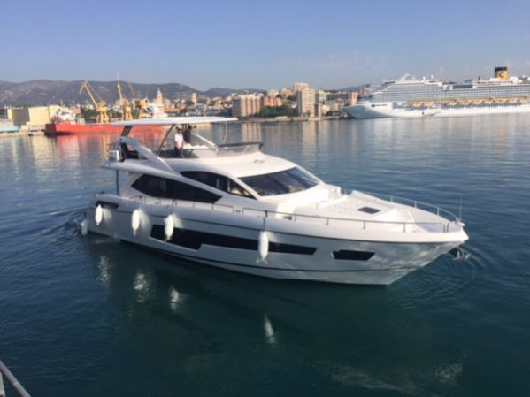 The beautiful 75 Yacht in the water after being off loaded