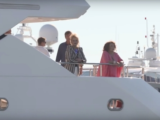 Joanna Lumley on 'THUMPER' the 40M Sunseeker Yacht for the AB FAB movie in July